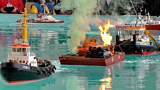 FIRE EXPLOSION & SMOKE ON THE WATER MANY RC MODEL SHIPS COME TO RESCUE / Faszination Modellbau 2016