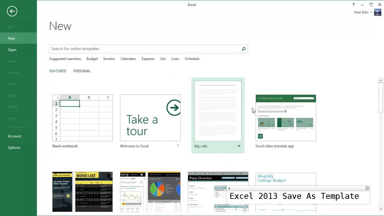 Excel 2013 Templates