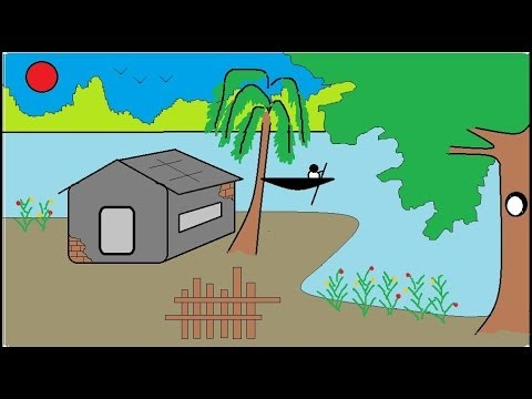 How to draw a scenery | How to draw house in an island ...