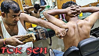 Shoulder pain relief Tok Sen massage therapy by Asim barber   loud cracking with SWAG   Indian ASMR