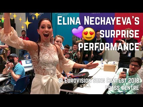 Elina Nechayeva's surprise performance at Eurovision Song Contest 2018 press centre