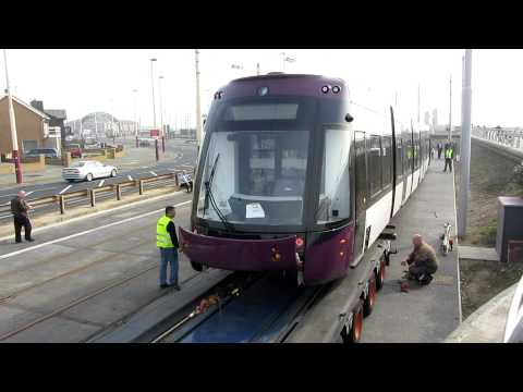 Bombardier Flexity 2 Tram - 011 Arrives in Blackpool. 23/03/12.