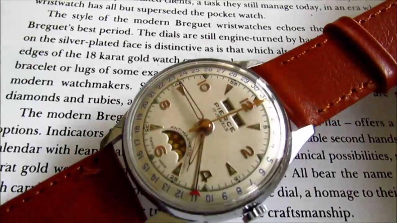 vintage pierce triple calendar moon phase wristwatch youtube