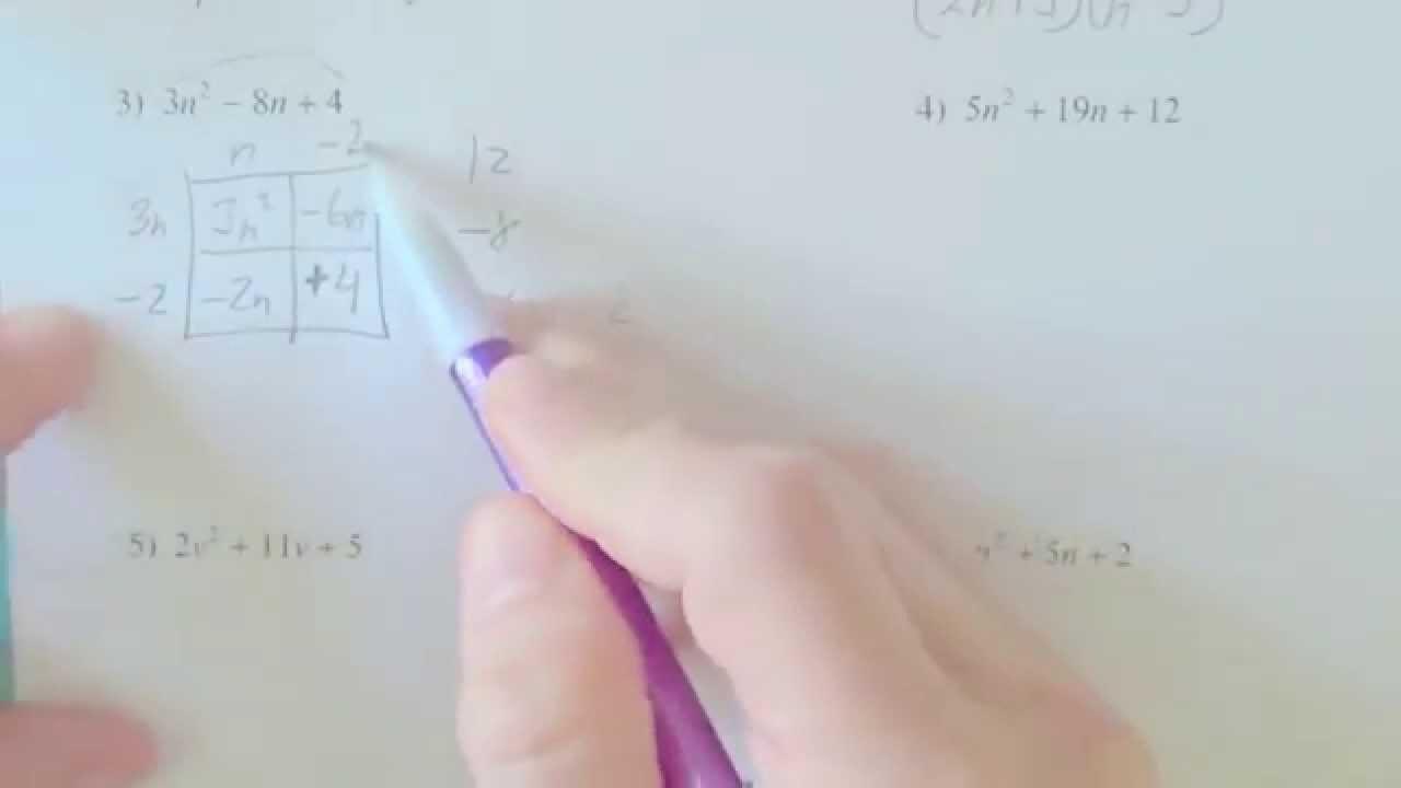 Factoring trinomials worksheet algebra 2 answers