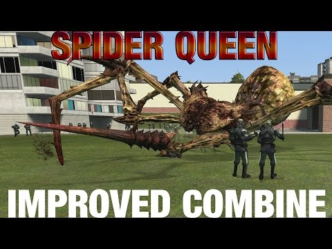 100 Metrocops (Improved Combine) vs Spider Queen in Garry's Mod
