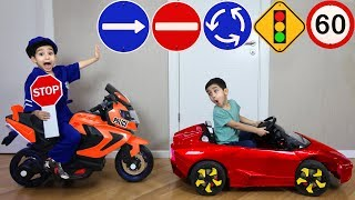 Police Thief Chase - Police Car Bike with Funny Baby Car educational videos for Kids
