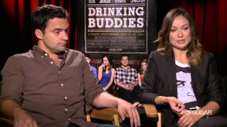 Olivia Wilde and Jake Johnson Went to Work Drunk For Drinking Buddies | POPSUGAR Interview