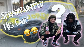 FRIEND'S CAR GETS MAKEOVER PRANK! **HE GETS ANGRY**