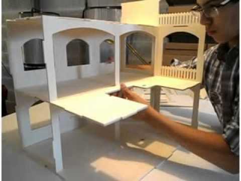 Construire une maison de poup e rosine minicrea youtube - Fabriquer une cheminee en carton ...