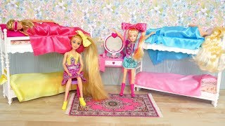 Barbie Jojo Siwa Doll Rapunzel Elsa Kitchen Bedroom Morning Routine غرفة نوم باربي Barbie Quarto