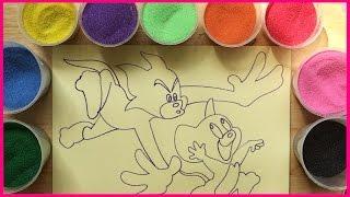Đồ chơi trẻ em TÔ MÀU TRANH CÁT MÈO TOM VÀ CHUỘT JERRY - Colored Sand Paiting (Chim Xinh)