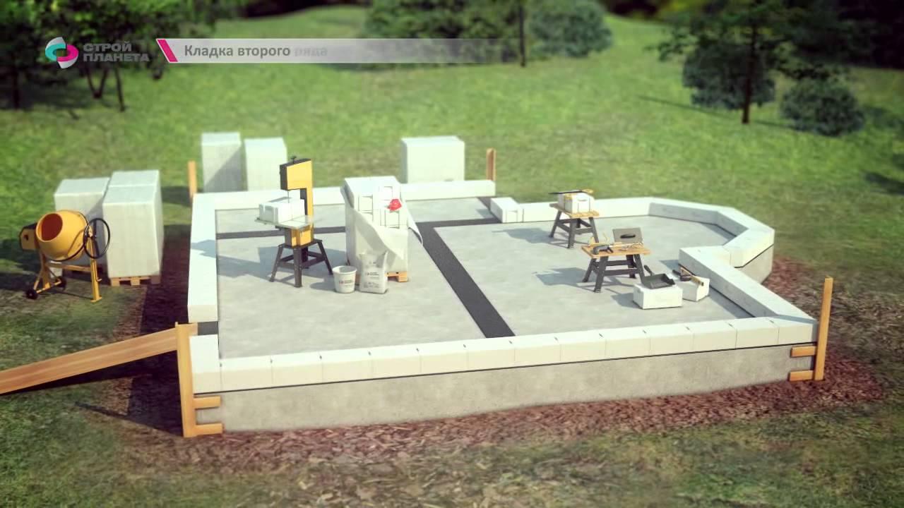 Видео по строительству дома из газоблоков