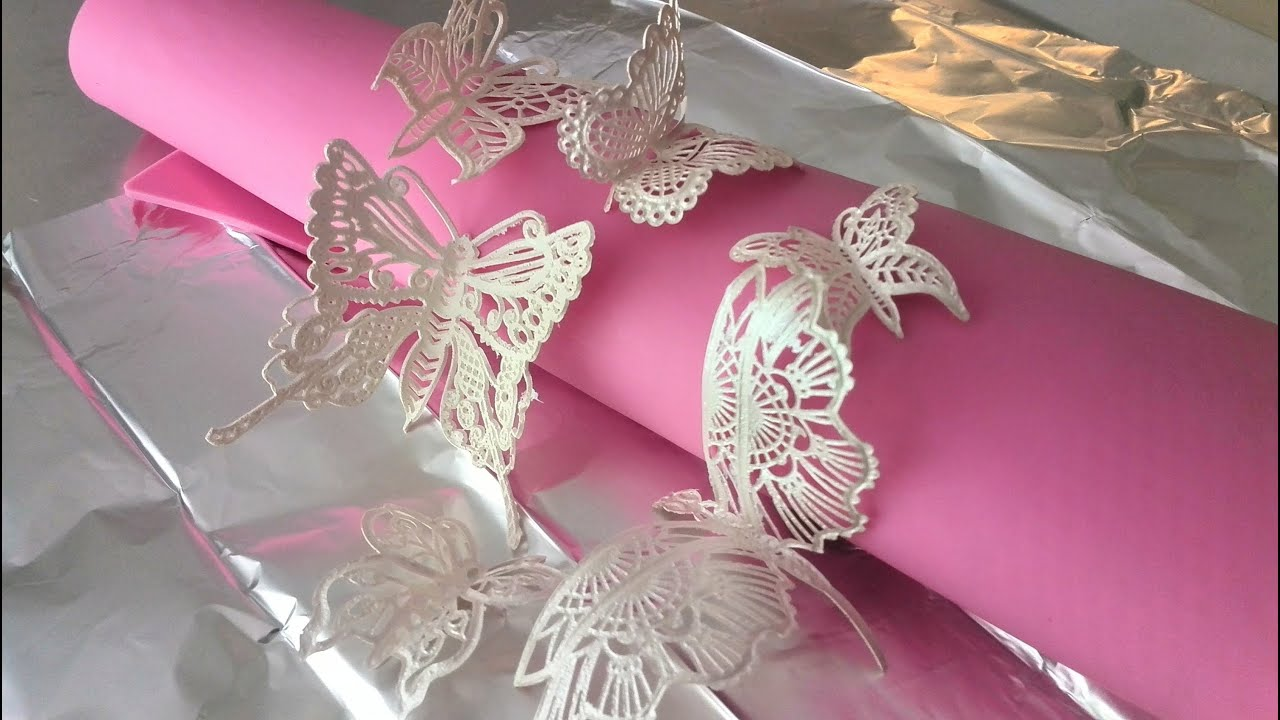 How To Make 3d Butterflies With Cake Lace Youtube