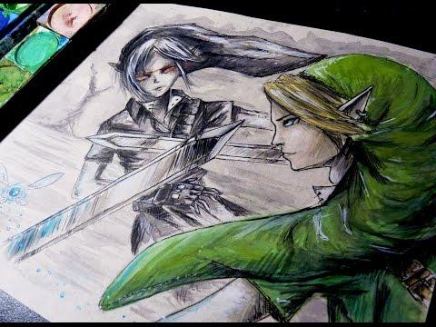 DARK LINK VS. LINK: OOT Watercolor Time Lapse Painting