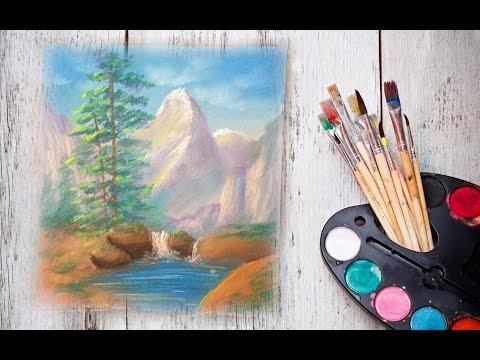 Видео как нарисовать горный пейзаж
