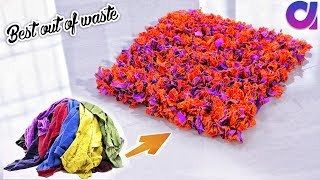 how to Reuse Your Old Clothes to make rugs, carpet, table mat   clothes recycling   Artkala 308