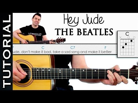 Como tocar HEY JUDE de THE BEATLES en guitarra acordes tutorial completo