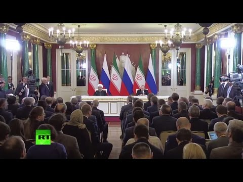 Пресс-конференция Владимира Путина и Хасана Роухани