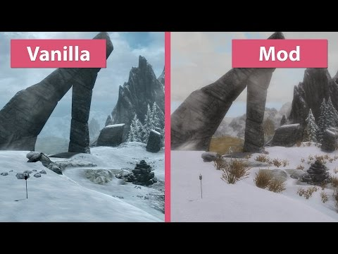 Skyrim Special Edition – First Visual Mod Overhaul vs. Vanilla Graphics Comparison