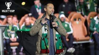 Portland Timbers players, Caleb Porter and Merritt Paulson speak at the MLS Cup rally