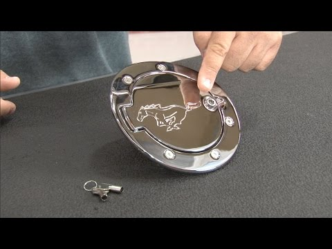 Mustang Fuel Door Locking Billet Aluminum Chrome With Pony Logo 2010-2014