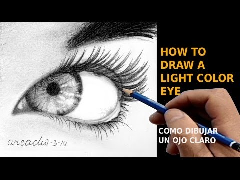 How to draw a light color eye / C ómo dibujar un ojo claro.