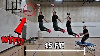 IMPOSSIBLE TRAMPOLINE BASKETBALL TRICK SHOTS AND DUNKS!!!