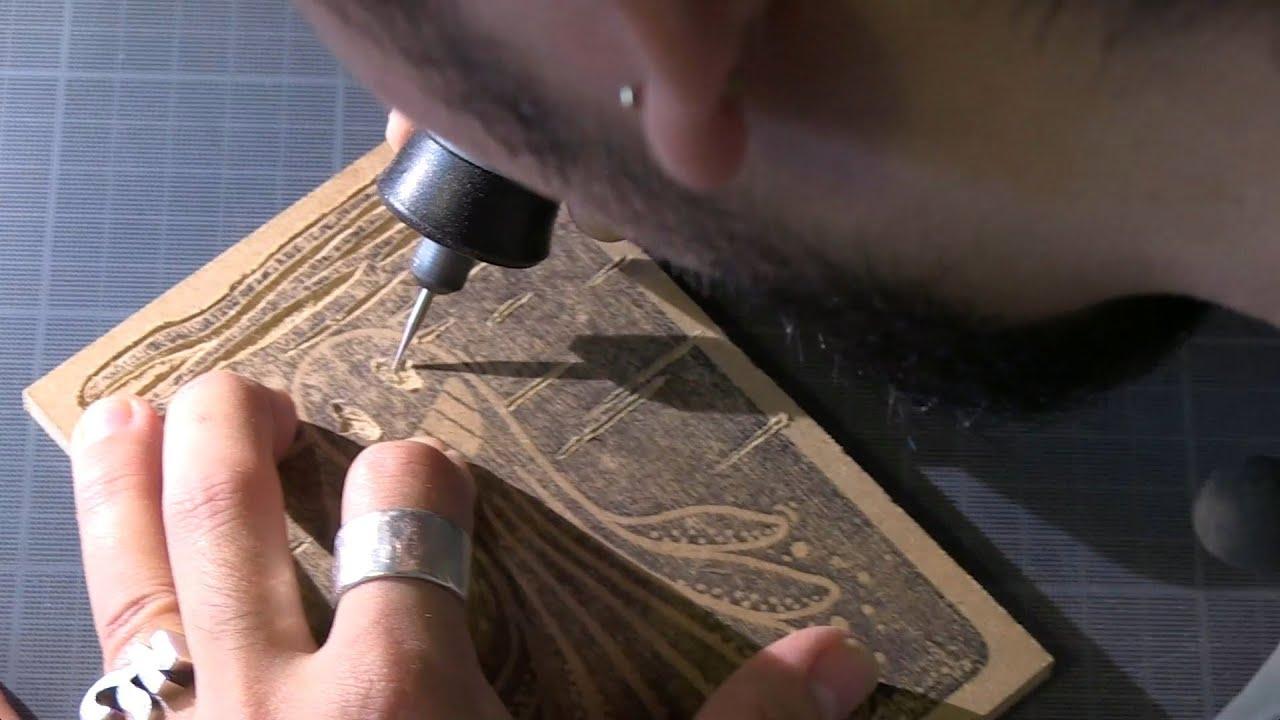 La gravure sur bois avec Dremel 4000 par Kekli Xylographie YouTube # Gravure Sur Bois Matériel