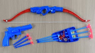 Box of Toys with Colored Bow and Arrow ! New Blue Toy Guns - Johny Johny Yes Papa with Learn Colors