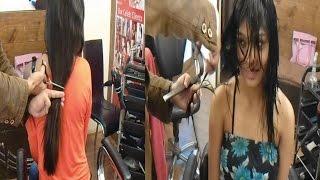 Model Actress Pooja's Haircut ( Long To Short Haircut)