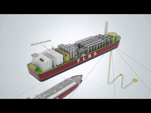 3D animation showing a floating liquefied natural gas facility and an LNG carrier