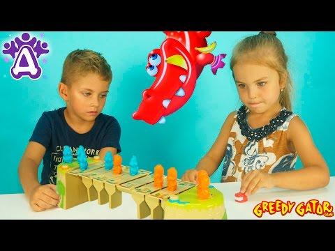 Видео для детей. Жадный Крокодил Игра Распаковка Unboxing toys Greedy Gator Game for children