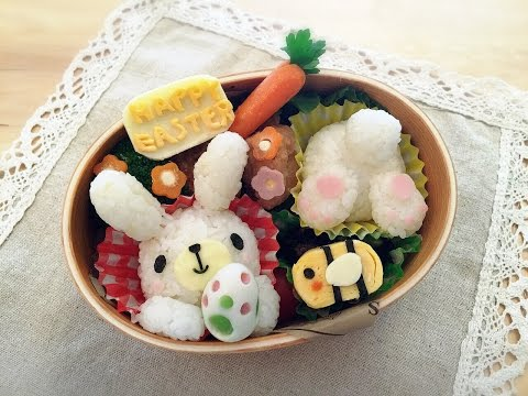 How to make two bunnies rice ball bento - Húsvéti nyuszis rizs