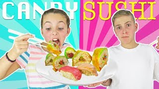 MAKING FOOD OUT OF CANDY! REAL SUSHI vs CANDY SUSHI Challenge | DIY Kids Cooking and Crafts