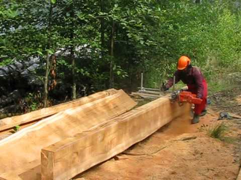 alaskan chainsaw mill milling cedar log husqvarna 395xp