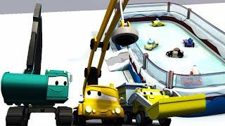 Bouwen een schaatsbaan voor de kleintjes 👷 Het bouwteam 🏠 Bouwplaats autos cartoon