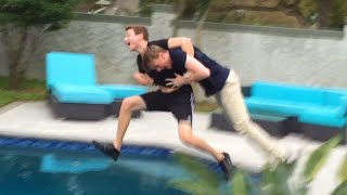 THROWING MITCH IN THE POOL PRANK! POOL PRANK GONE WRONG?