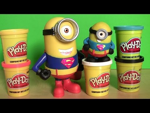 Minion Tim As Superman Man Of Steel - Despicable Me Figure Papoy Play-doh How-to Mold video