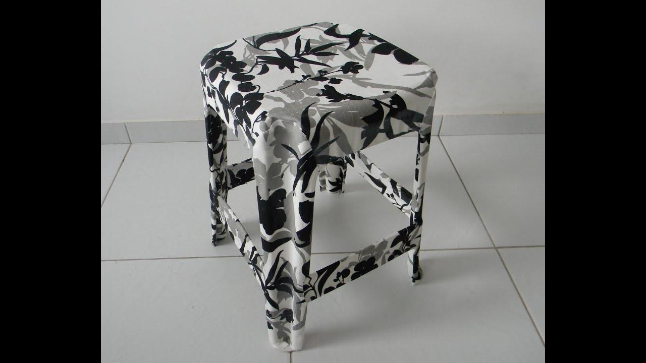 Como revestir um banquinho com tecido por Luciana Aragão   #4E5059 3000x2452