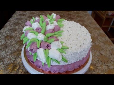 Торт со СМЕТАННЫМ кремом и КЛУБНИЧНЫМ желе Торт с ТЮЛЬПАНАМИ Украшаем бзк Cake decoration
