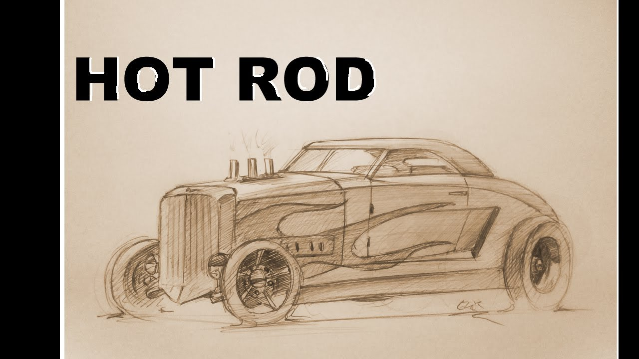 how to draw a old hot rod