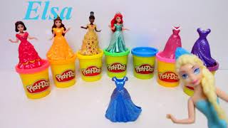 Disney Princesses Doll Dress Up Frozen Elsa Anna Rapunzel Belle Ariel Tiana Aurora Cinderella