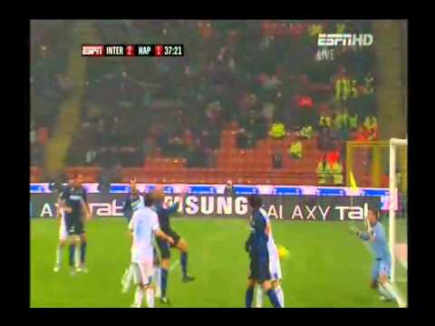 Cambiasso goal vs Napoli at 37' min 6/1/2011 goal to 2-1