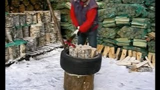 Splitting firewood safely and efficiently with Virves Leveraxe