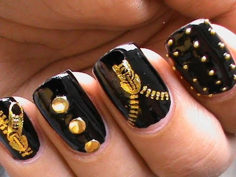Garage Chic - Biker Studded Nails Art  Designs Zip Nail Water Decals How To DIY Nail Polish Easy