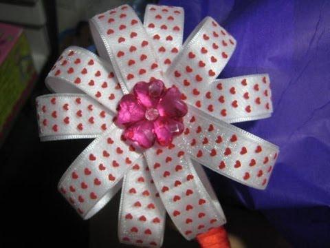 DIY moño flor de listón paso a paso - YouTube