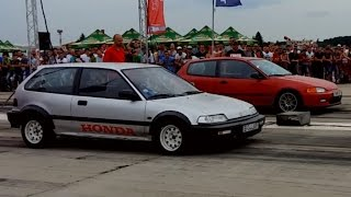 Honda Civic ED Turbo vs Honda Civic EG6 B16a2 Turbo - Drag race Arad 2016 - Turbo battle