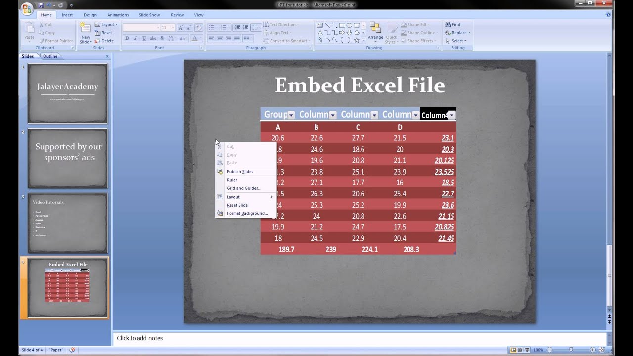 Powerpoint Embed Excel Spreadsheet Into Slides Youtube
