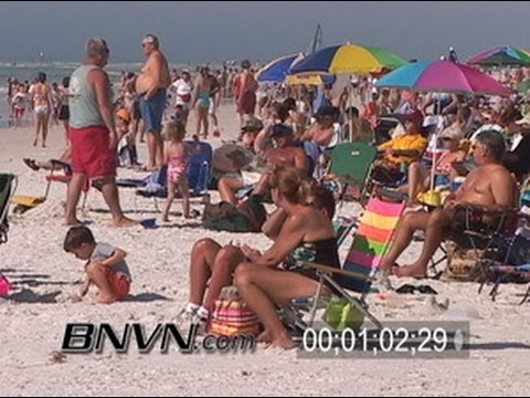 12/31/2005 New Years Eve At The Beach Crowds Siesta Beach, FL B-Roll Footage