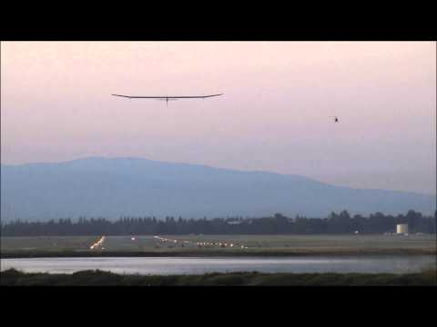 Takeoff of Solar Impulse - Moffett Field scene